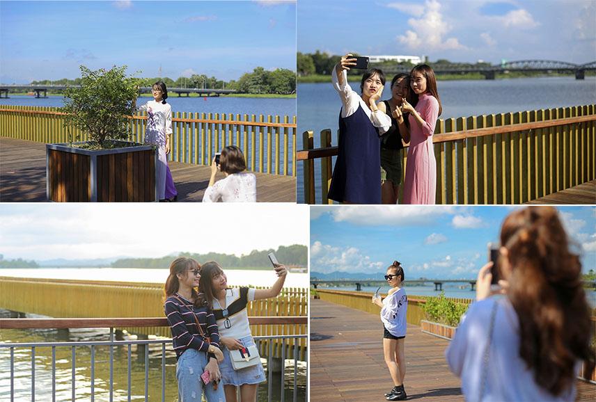 """Cầu đi bộ lát gỗ lim trên sông Hương trở thành địa điểm """"hot"""" nhất ở Huế dù chưa khánh thành"""